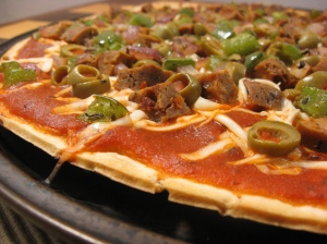Vegan Pizza with Tofurkey Italian Sausage
